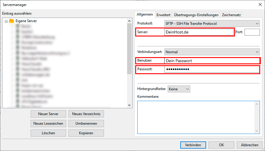 Servereinstellungen des Webservers in FileZilla